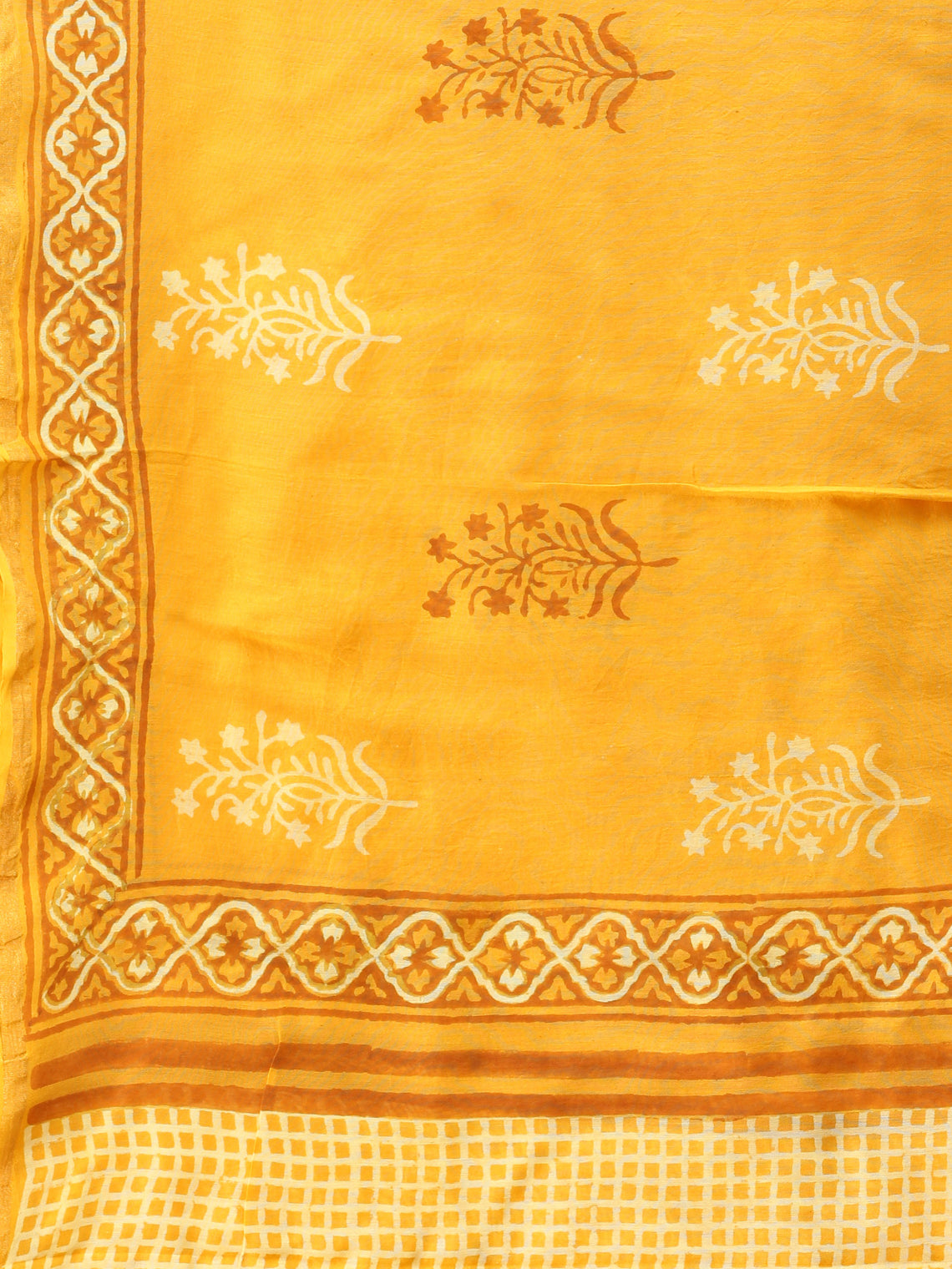 Bright Yellow White Chanderi Shibori Printed Dupatta - D04170745