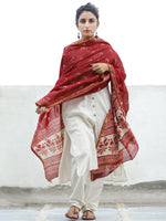 Cherry Red Ivory Chanderi Hand Block Printed Dupatta - D04170356