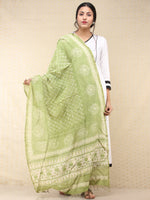 Light Green Ivory Chanderi Hand Block Printed Dupatta - D04170748