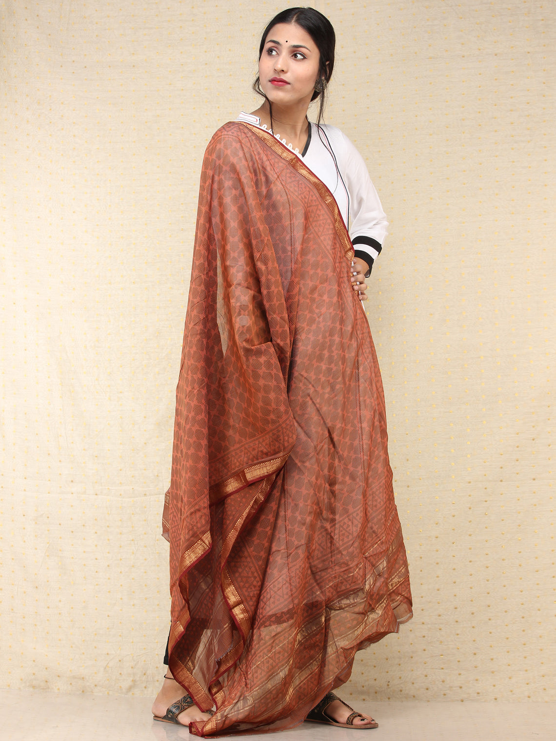 Brown Red Chanderi Hand Block Printed Dupatta - D04170751