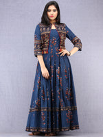Naaz Roheen - Hand Block Printed Long Cotton Box Pleated Embroidered Jacket Dress - DS98F001