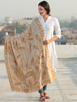 Beige Brown Aari Embroidered Pure Wool Self Check Kashmiri Shawl  - S200509