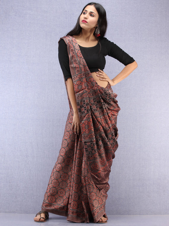 Kashish Beige Black Ajrakh Hand Block Printed Modal Silk Saree - S031704448