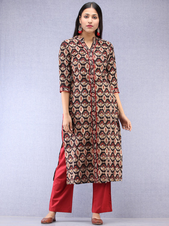 Black Beige Maroon Ajrakh Hand Block Printed Kurta With Round Collar  - K198F1842