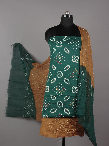 Teal Green Brown White Hand Tie & Dye Bandhej Suit Salwar Dupatta (Set of 3) With Hand Embroidery & Mirror Work - S16281246