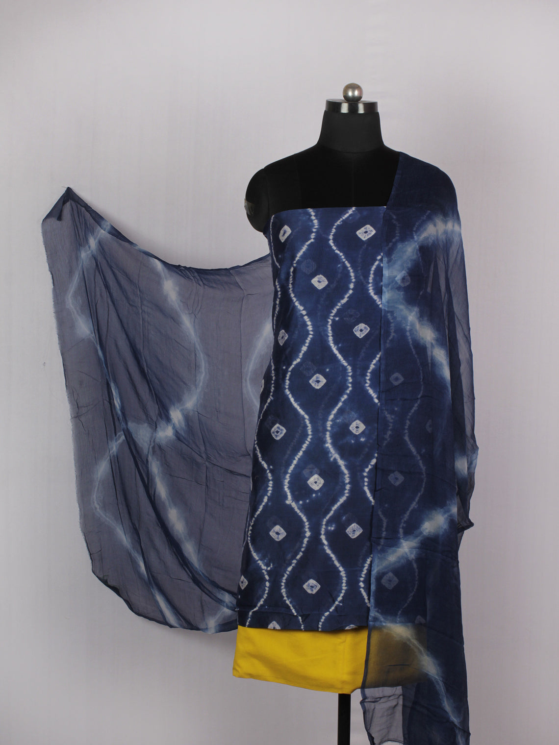 Indigo Ivory Yellow Hand Shibori Dyed Chanderi Kurta & Chiffon Dupatta With Cotton Salwar Fabric Set of 3- S1628218
