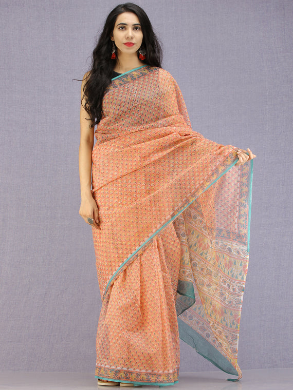 Coral Yellow Teal Hand Block Printed Kota Doria Saree - S031704588