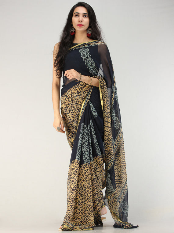 Navy Mustard Hand Block Printed Chiffon Saree with Zari Border - S031704557