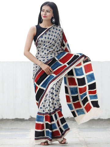 Off White Black Indigo Red Ajrakh Hand Block Printed Modal Silk Saree in Natural Colors - S031703699