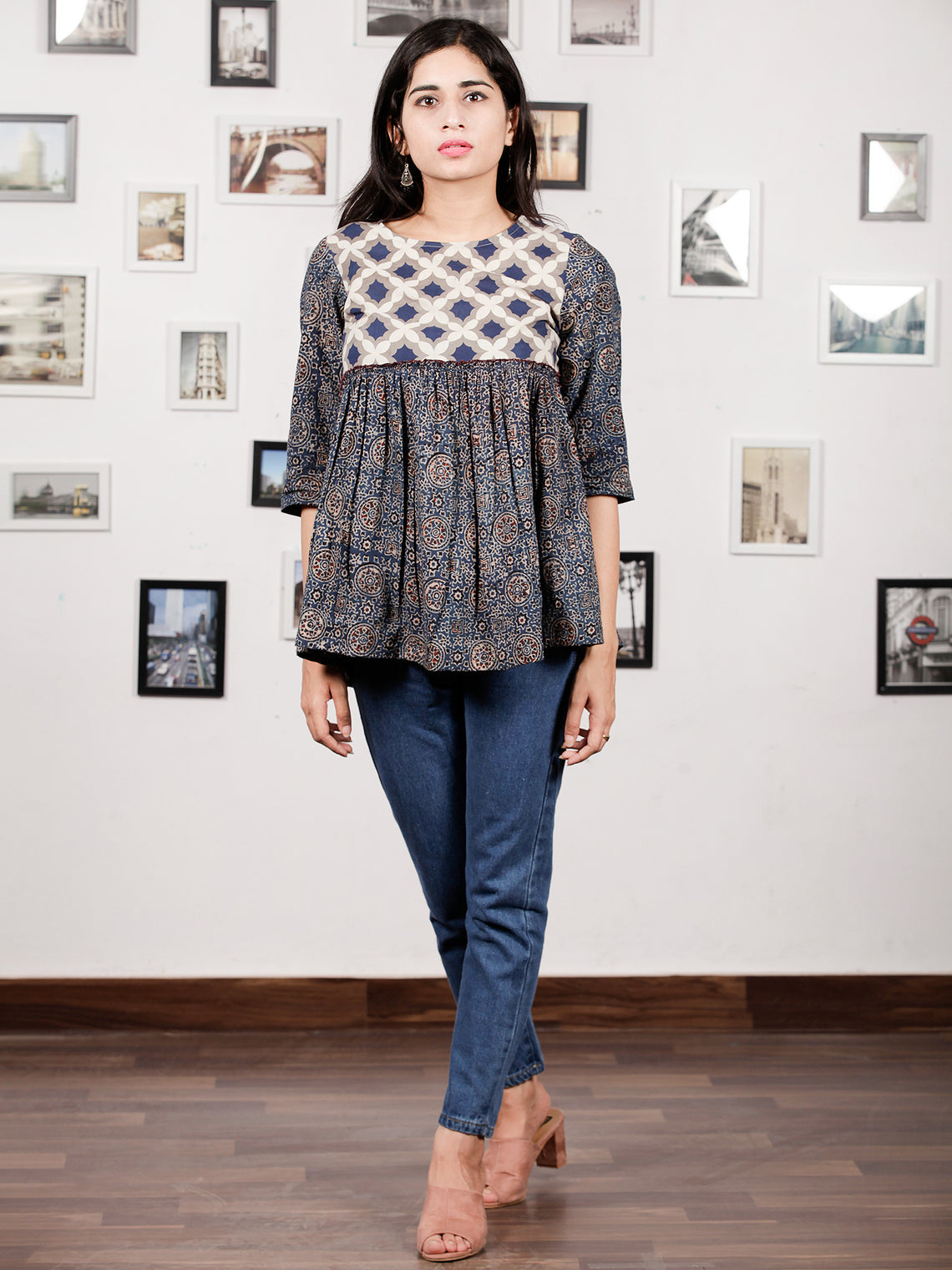 Indigo Grey White Hand Block Printed Top With Gathers  - T22F875