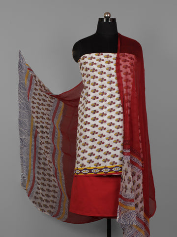 White Yellow Maroon Hand Block Printed Cotton Suit-Salwar Fabric With Chiffon Dupatta (Set of 3) - S16281282