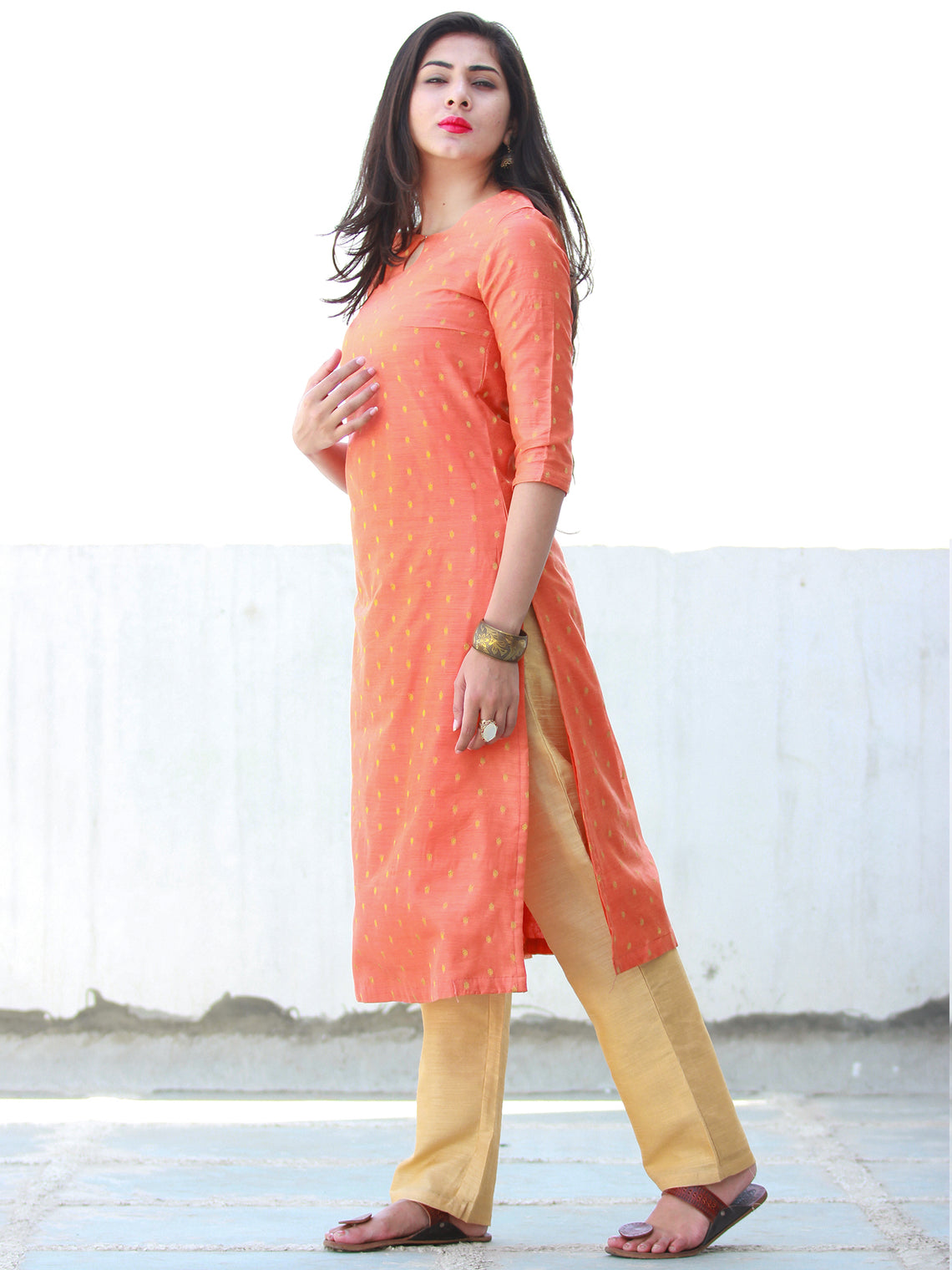 Simple Festive  - Peach Ivory Chanderi  Kurta & Pants Sets  - Set of 2  - SS01F072