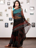 Black Red Beige Hand Block Printed Kota Doria Saree In Natural Colors - S031703196