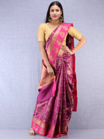 Banarasee Cotton Silk Saree With Zari Work - Onion Pink & Gold - S031704405