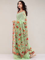 Light Green Aari Embroidered Georgette Saree From Kashmir - S031704628