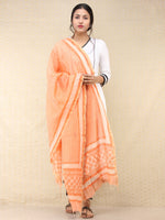 Peach Red Chanderi Hand Block Printed Dupatta - D04170754