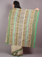 Beige Brown Green Cotton Hand Block Bagru Printed Saree - S03170274