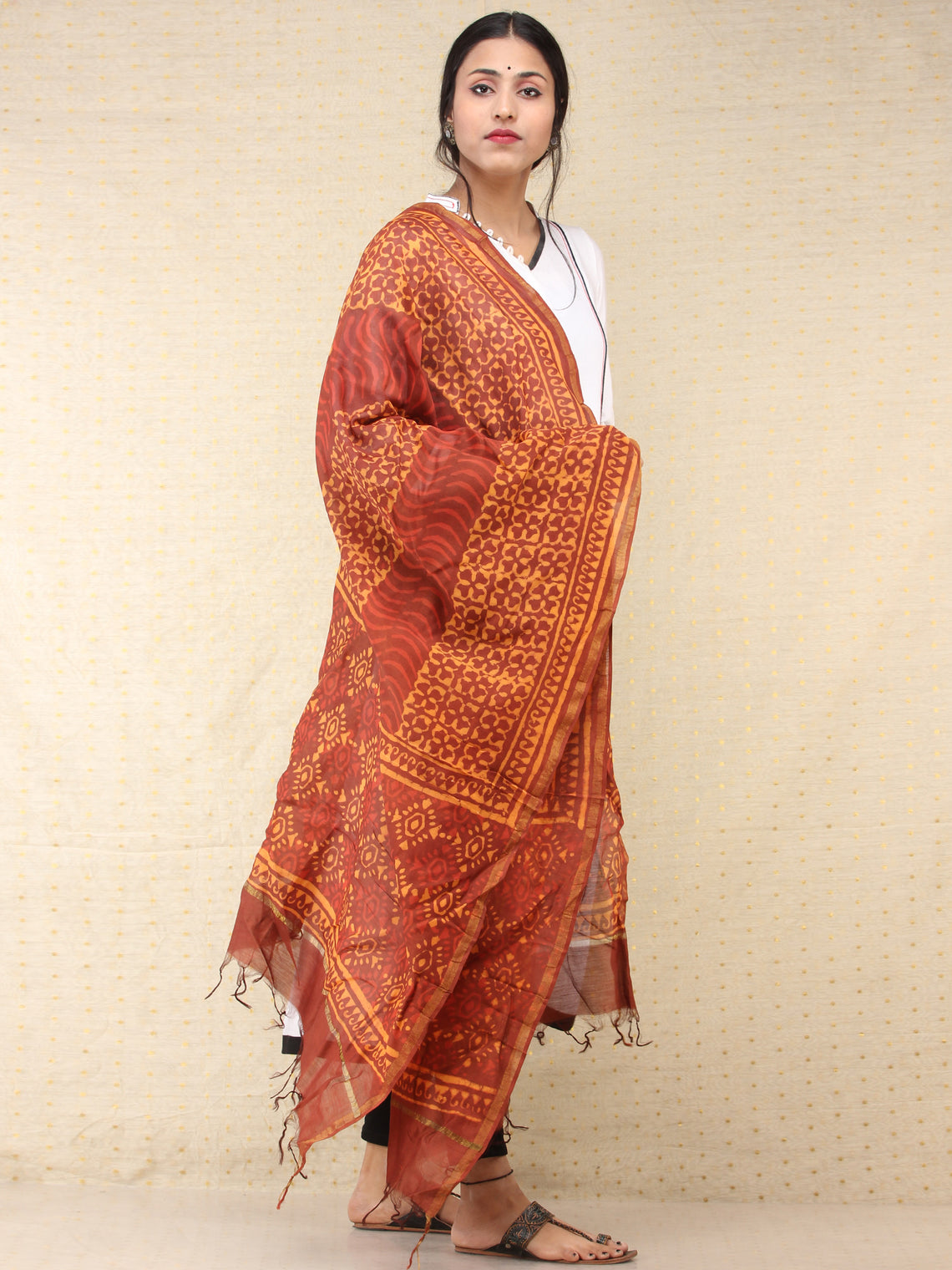 Brown Yellow Red Chanderi Hand Block Printed Dupatta - D04170757