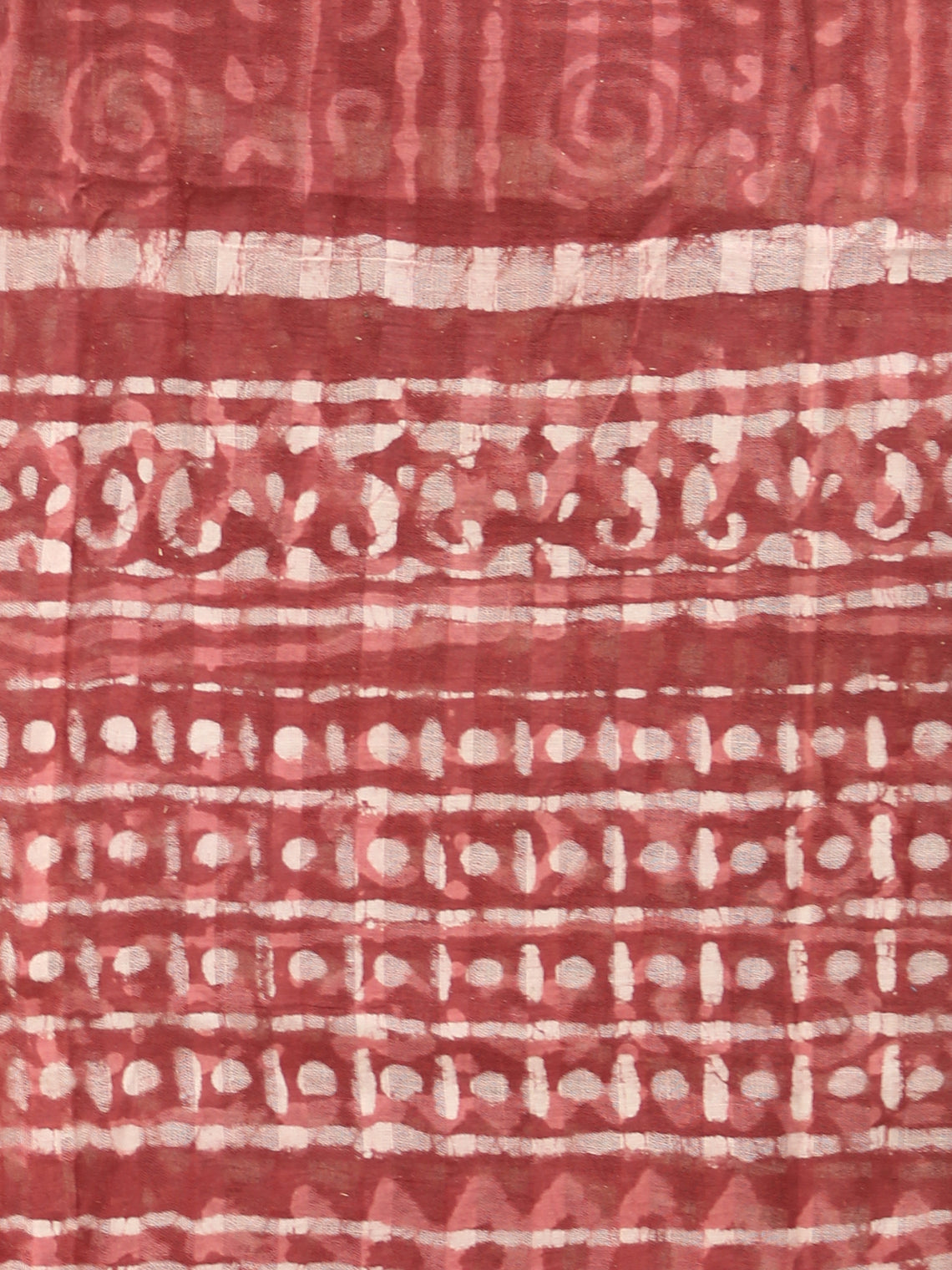 Brick Red Ivory Handloom Cotton Hand Block Printed Dupatta - D04170521