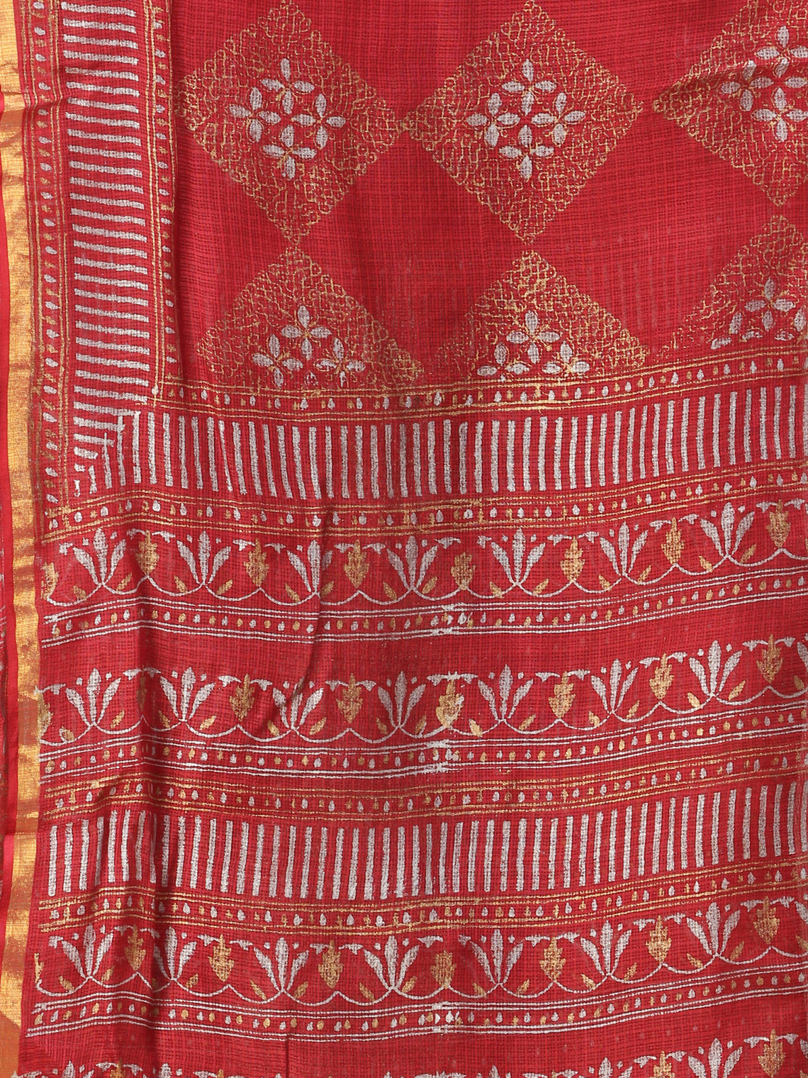 Rose Red Grey Kota Silk Hand Block Printed Dupatta - D04170759