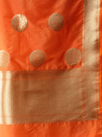 Banarasi Kanni Dupatta With Zari Work - Orange & Gold - D04170864