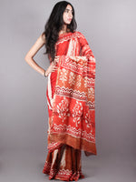 Red Shades Hand Dyed & Block Printed in Natural Vegetable Colors Chanderi Saree - S03170149