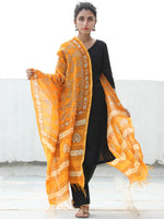 SunShine Yellow White Chanderi Hand Block Printed Dupatta - D04170525