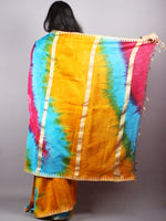 Multicolor Marvel Hand Shibori Dyed in Natural Colors Chanderi Saree with Geecha Border - S03170134