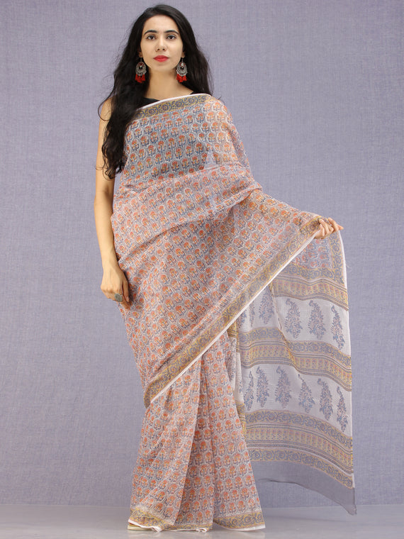 Grey Coral Teal Hand Block Printed Kota Doria Saree - S031704589
