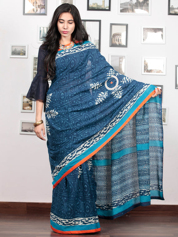 Indigo White Sky Blue Hand Block Printed Cotton Mul Saree With  Orange Border & Mirror Work  - S031703021