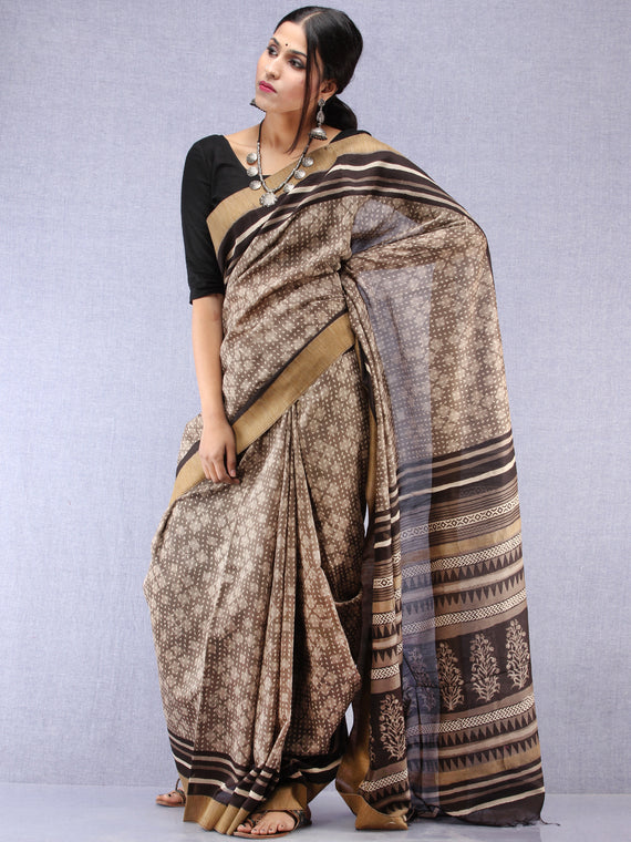 Kashish Black Hand Block Printed Chanderi Saree With Geecha Border - S031704510