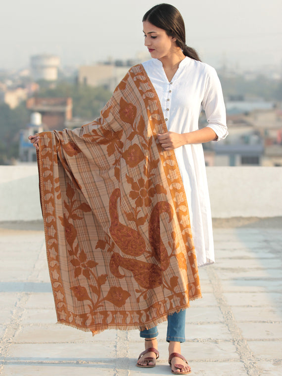 Mustard Beige Aari Embroidered Pure Wool Self Check Kashmiri Shawl - S200511