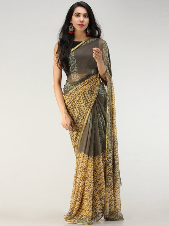 Charcoal Mustard Hand Block Printed Chiffon Saree with Zari Border - S031704558