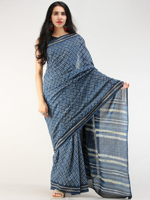 Indigo OffWhite Hand Block Printed  Cotton Mul Saree - s031704544