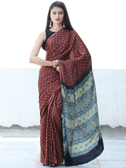 Brown Rust Black Green Bandhej Modal Silk Saree With Ajrakh Printed Pallu & Blouse - S031703877