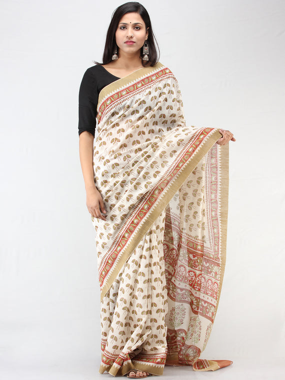 White Rosewood Green Chanderi Hand Block Printed Saree With Geecha Border - S031704460
