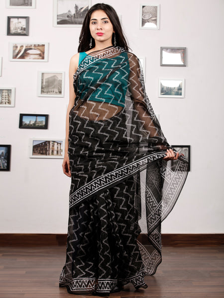Black White Hand Block Printed Kota Doria Saree In Natural Colors - S031703197