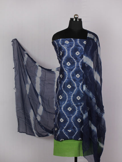 Indigo Ivory Lime Green Hand Shibori Dyed Chanderi Kurta & Chiffon Dupatta With Cotton Salwar Fabric Set of 3- S1628219