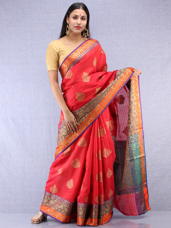 Banarasee Cotton Silk Saree With Zari Work - Coral Red Gold & Purple - S031704406