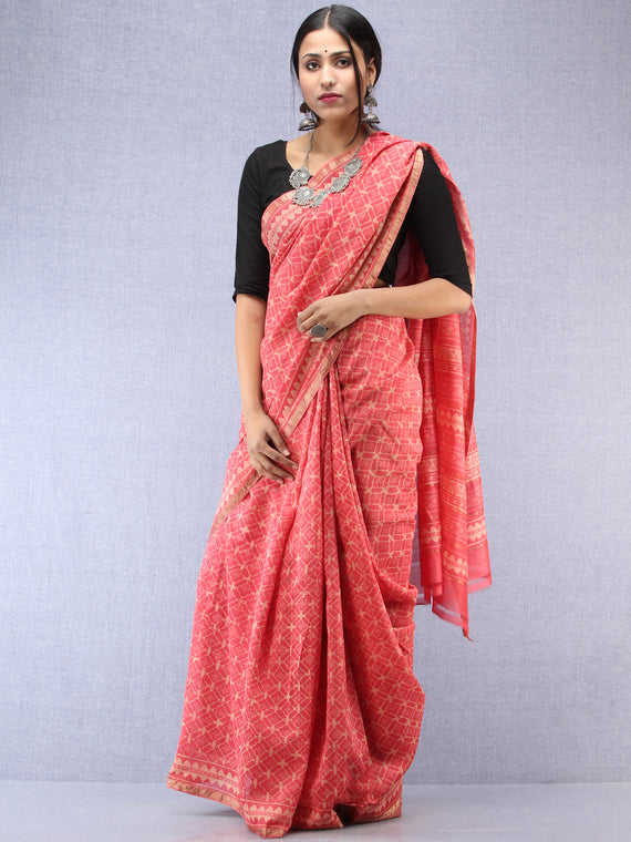 Pink Ivory Hand Block Printed Maheshwari Silk Saree With Zari Border - S031704485