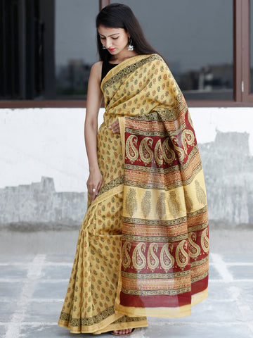 Yellow Maroon Black Bagh Hand Block Printed Maheswari Silk Saree With Resham Border - S031703832