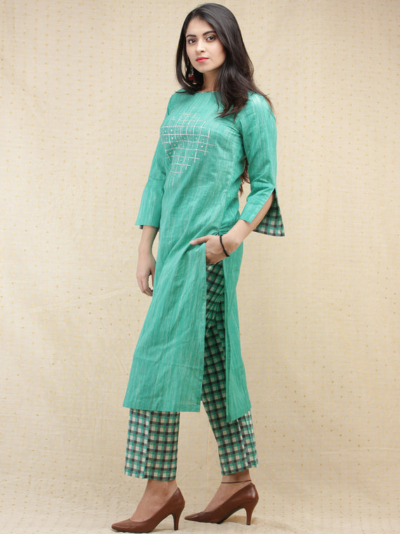 Kashooda - Sea Green Printed & Embroidered Kurta Pant Set  - SS02FXXX