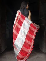 Red Black White Grey Handwoven Checked Linen Saree With Zari Border - S031703447