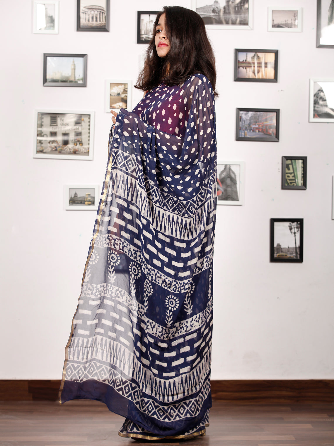 Indigo White Hand Block Printed Chiffon Saree with Zari Border - S031703159