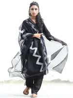 Black White Kota Doria Cotton Hand Block Printed Dupatta  - D04170379