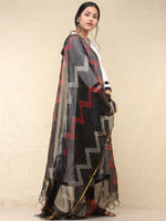Black Red Kota Silk Hand Block Printed Dupatta - D04170771