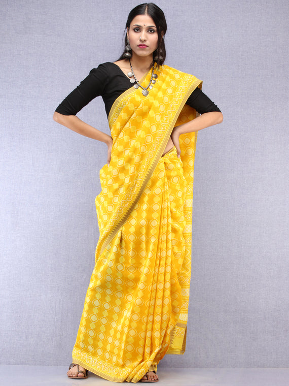 Yellow Hand Block Printed Chanderi Saree With Geecha Border - S031704511