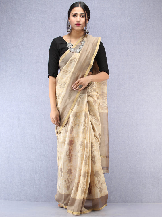 Kashish Ivory Hand Block Printed Maheshwari Silk Saree With Zari Border - S031704486