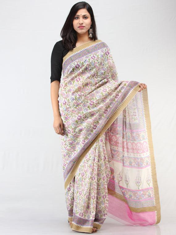 White Lilac Hand Block Printed Chanderi Saree With Geecha Border - S031704461