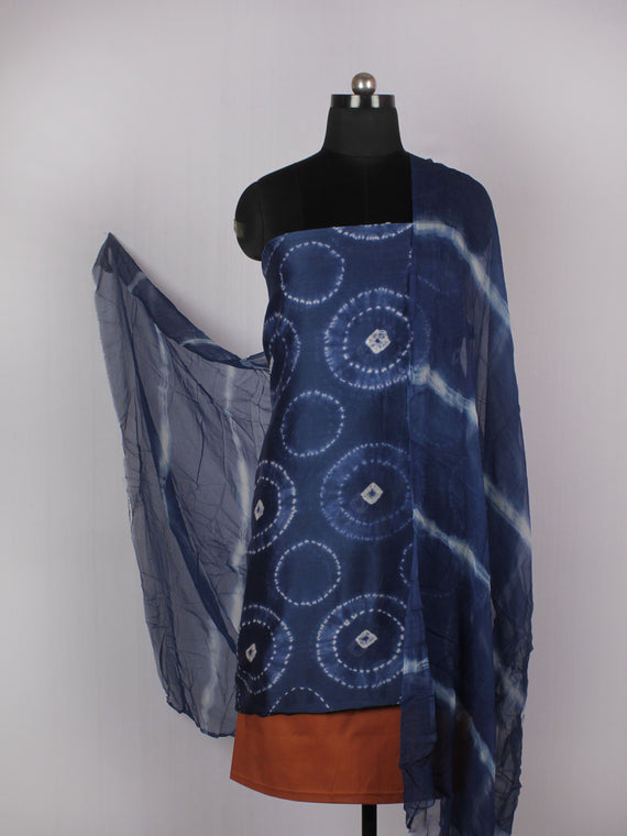 Indigo Ivory Brick Red Hand Shibori Dyed Chanderi Kurta & Chiffon Dupatta With Cotton Salwar Fabric Set of 3- S1628220